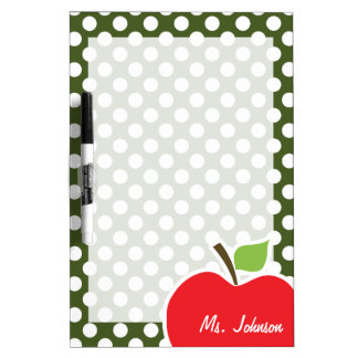 Apple on Dark Moss Green Polka Dots Dry Erase Board