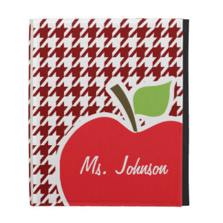 Apple on Dark Red Houndstooth iPad Cases