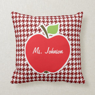 Apple on Dark Red Houndstooth Throw Pillows