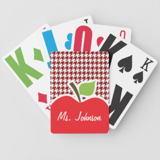 Apple on Dark Red Houndstooth Bicycle Playing Cards