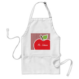 Apple on Dark Red Houndstooth Standard Apron