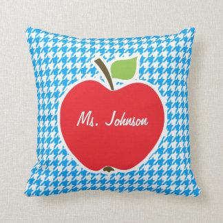 Apple on Deep Sky Blue Houndstooth Throw Pillow