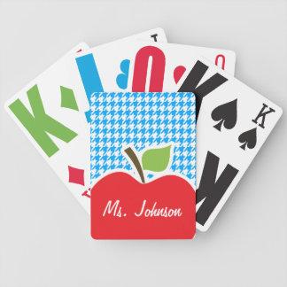 Apple on Deep Sky Blue Houndstooth Deck Of Cards