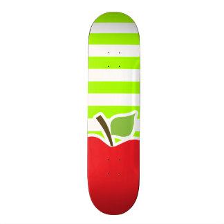 Apple on Electric Lime Green Horizontal Stripes Skateboard Decks