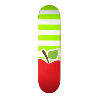 Apple on Electric Lime Green Horizontal Stripes Skateboard Decks