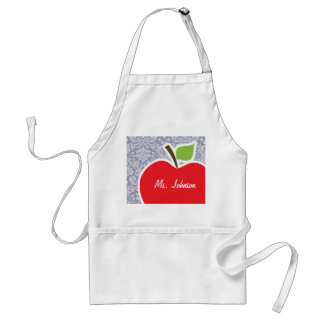 Apple on Gray-Blue Damask Standard Apron