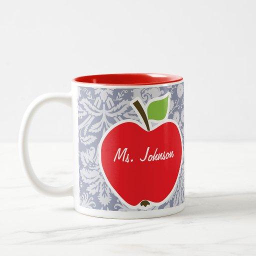 Apple on Gray-Blue Damask Mugs