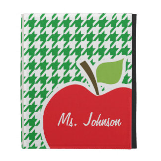 Apple on Kelly Green Houndstooth iPad Cases