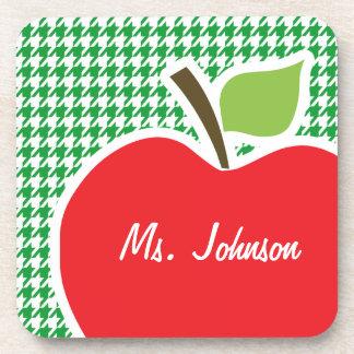 Apple on Kelly Green Houndstooth Beverage Coaster