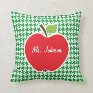 Apple on Kelly Green Houndstooth Throw Pillows