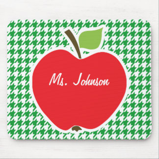 Apple on Kelly Green Houndstooth Mousepad