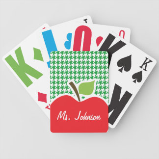 Apple on Kelly Green Houndstooth Poker Deck
