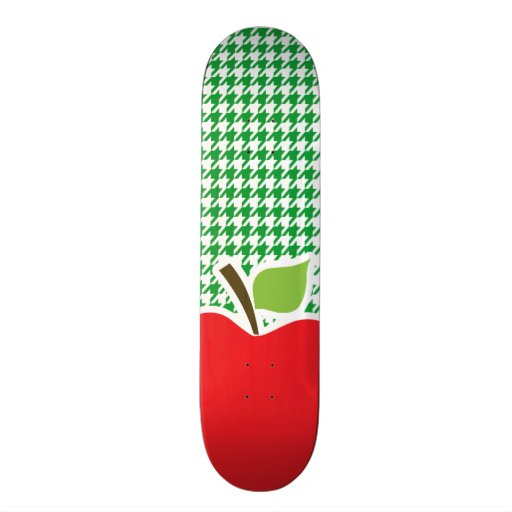 Apple on Kelly Green Houndstooth Skate Boards