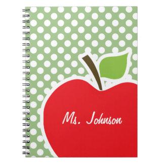 Apple on Laurel Green Polka Dots Spiral Notebooks