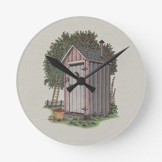 Apple Orchard Outhouse Round Clock