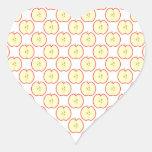 Apple pattern. heart sticker