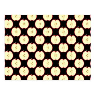 Apple Pattern. On Black. Postcard