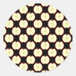 Apple Pattern. On Black. Round Stickers