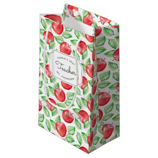 Apple Pattern Personalized Teacher Small Gift Bag