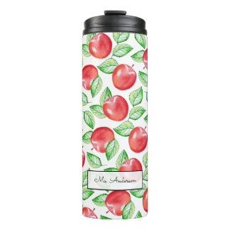 Apple Pattern Personalized Teacher Thermal Tumbler