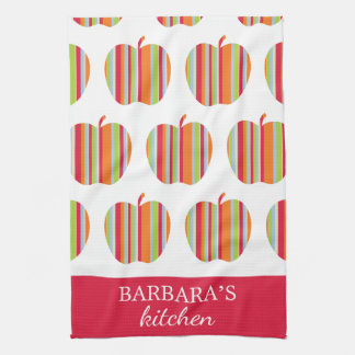 Apple Pattern with Name White & Red Kitchen Towel
