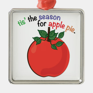 Apple Pie Silver-Colored Square Decoration