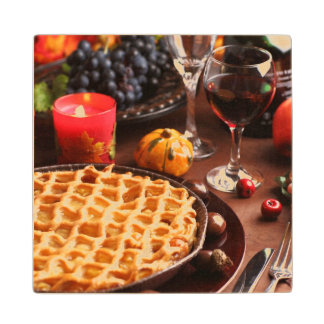 Apple Pie For Thanksgiving Wood Coaster