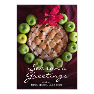 Apple pie made to look like Christmas wreath 13 Cm X 18 Cm Invitation Card