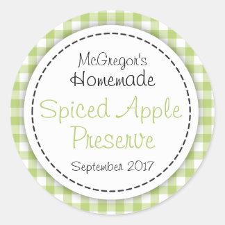 Apple preserve green round  jam jar food label round sticker