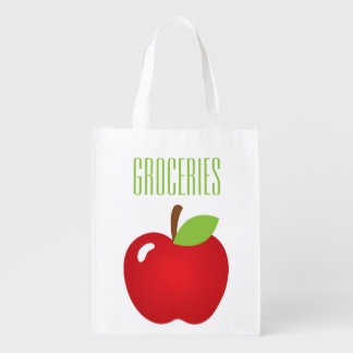 Apple Print Grocery Reusable Grocery Bag