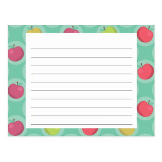 Apple Print Recipe Card Post Card