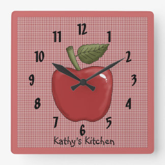 Apple (Red) Square Wall Clock