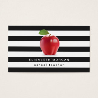 Apple School Teacher - Classic Black White Stripes Business Card