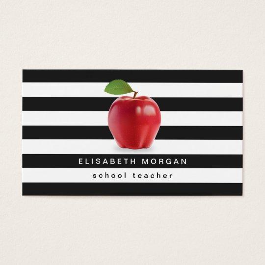 Apple School Teacher - Classic Black White Stripes Business Card