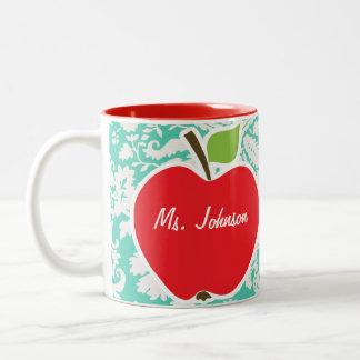 Apple; Seafoam Green Damask Two-Tone Coffee Mug