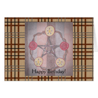 Apple Slice Pentacle Birthday Brown Plaid Greeting Card