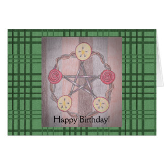 Apple Slice Pentacle Birthday Green Plaid Greeting Card