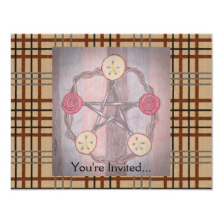 Apple Slice Pentacle Wreath Birthday Celebration 11 Cm X 14 Cm Invitation Card