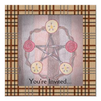 Apple Slice Pentacle Wreath Birthday Celebration 13 Cm X 13 Cm Square Invitation Card