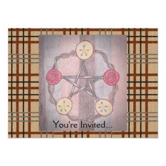 Apple Slice Pentacle Wreath Birthday Celebration 14 Cm X 19 Cm Invitation Card