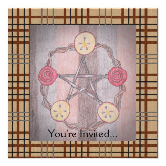 Apple Slice Pentacle Wreath Birthday Celebration Personalized Announcement