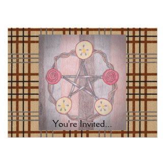 Apple Slice Pentacle Wreath Birthday Celebration Personalized Invite
