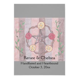 Apple Slice Pentacle Wreath Handfasting Wedding 13 Cm X 18 Cm Invitation Card