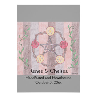 Apple Slice Pentacle Wreath Handfasting Wedding Card