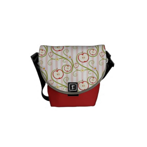 Apple slices and flower with pink stripes courier bags