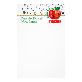 Apple Stars Glitter | World's Best Teacher Stationery