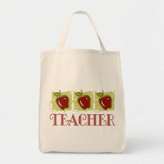 Apple Teacher School Gift Grocery Tote Bag