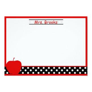 Apple Teacher Stationery/Note Cards 13 Cm X 18 Cm Invitation Card