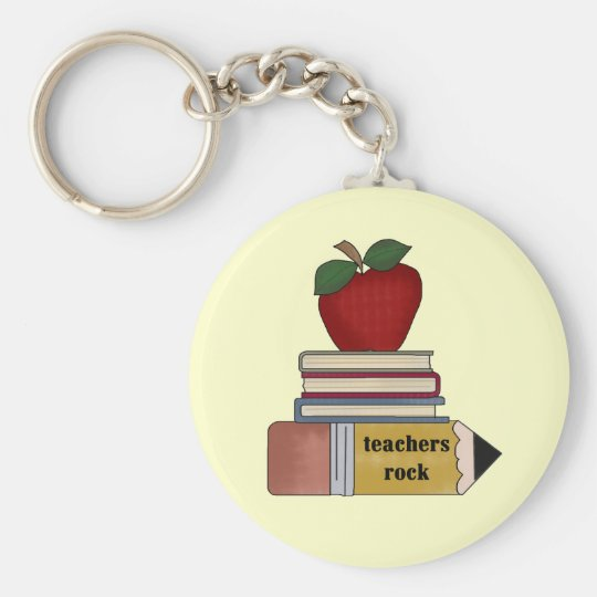 Apple Teachers Rock Tshirts and Gifts Key Ring