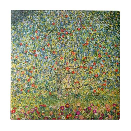 Apple Tree by Gustav Klimt Small Square Tile